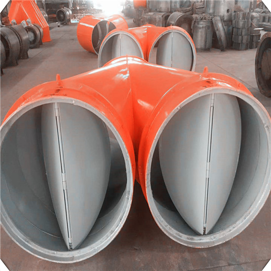 煤矿双风筒分风器|通风机铁质分风器 |矿用风机分风器|铁质风筒分风器|双风机风筒自动切换